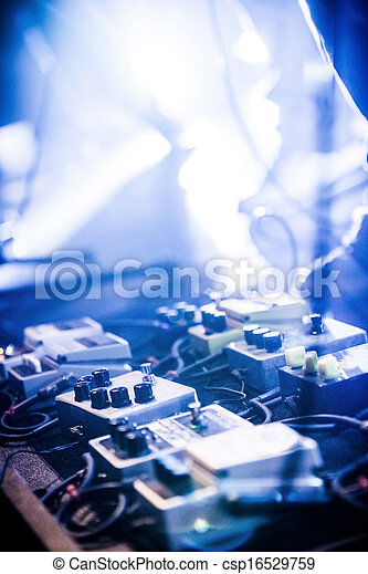 Guitar Pedals On A Stage With Live Band Performing During Show Low Light Image Copyspace Stock Photo