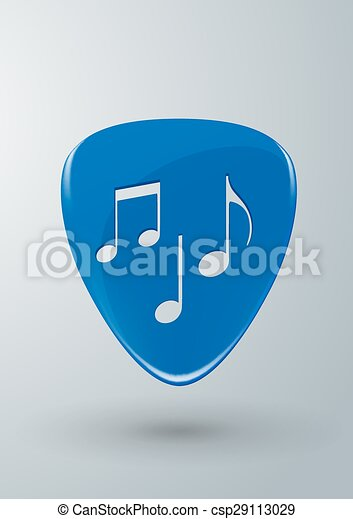 Guitar Pick With Music Notes Concep Vector