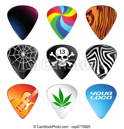 Guitar Picks Or Plectrums With Custom Designs Vector Clipart