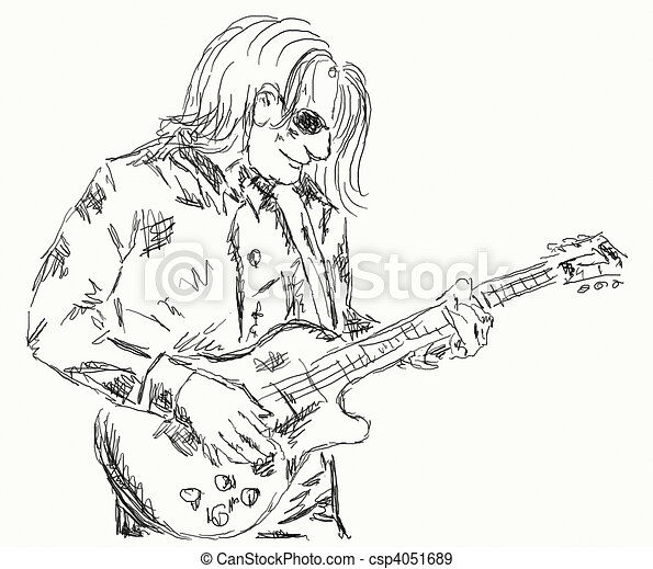 Hand Painted Illustration Of A Guitar Player
