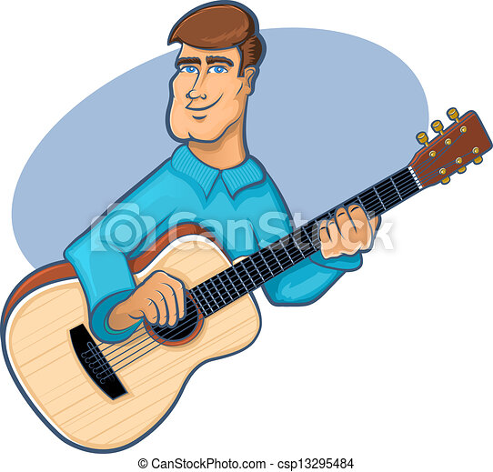 guitar player guitarist strumming illustration vector search clip rh canstockphoto com Guitar Player Silhouette Clip Art guitar player clipart