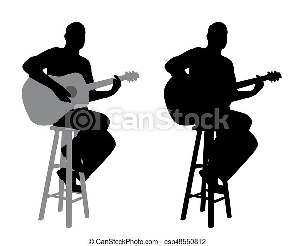 Guitar Player Sitting On A Bar Stool Illustration Of A