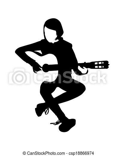 Guitar Players Vector Clip Art Illustrations 4230 Guitar Players
