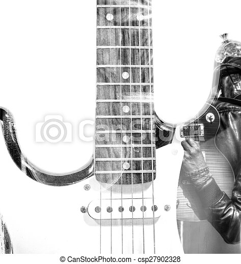 guitar player with an open guitar case and guitar silhouette in double exposure in bw - csp27902328