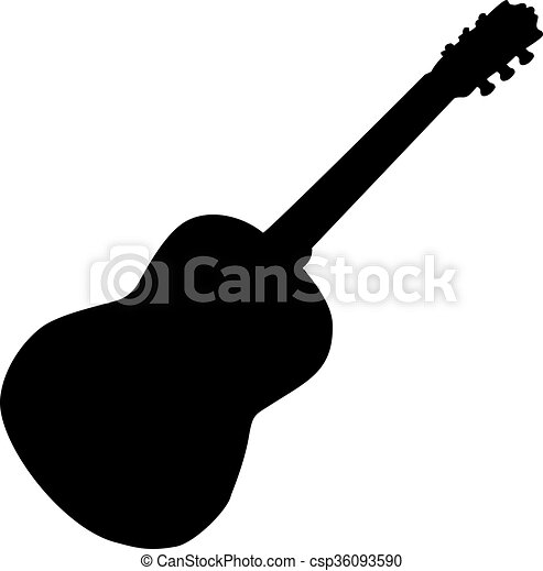 a guitar silhouette isolated on a white background