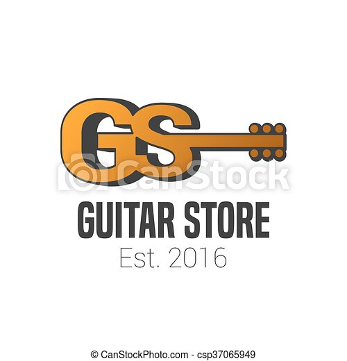 guitar store vector template logo music store sign eps vector