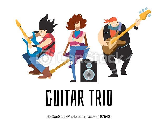 guitar trio concept with musicians guitar trio rock band eps rh canstockphoto com rock band clipart free rock band clipart
