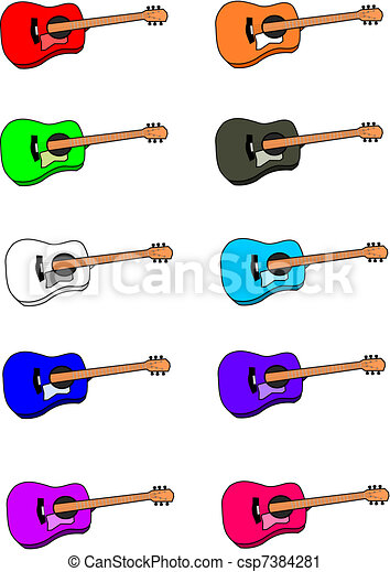 Ten Different Colored Six String Acoustic Guitars Vector Clip Art