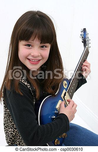 guitare, girl, électrique - csp0030610