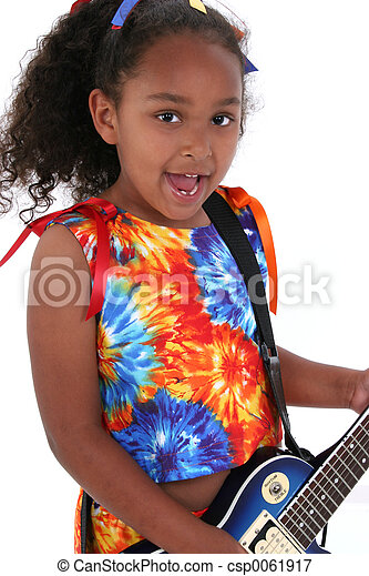 guitare, girl, enfant - csp0061917