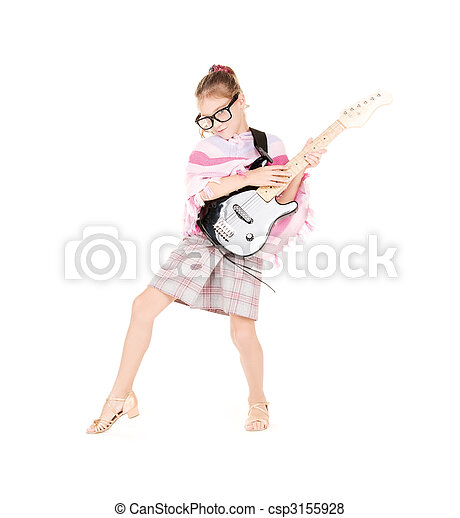 guitare, girl - csp3155928