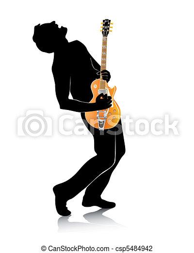 guitare, silhouette - csp5484942