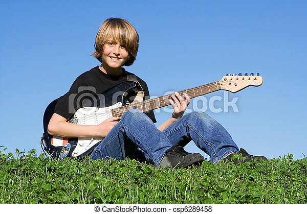 guitarist, 音楽家, 若い, ギター, 子が遊ぶ - csp6289458