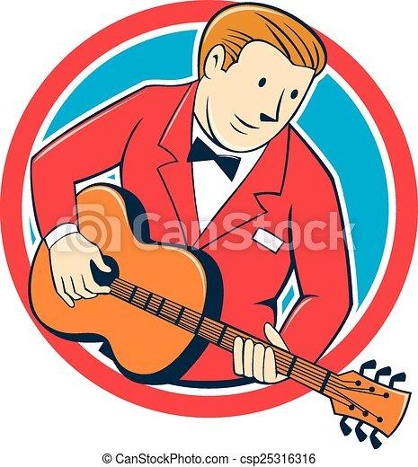 Guitariste musicien dessin anim guitare cercle jouer - Dessin musicien ...