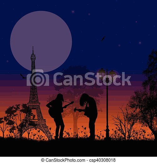 Guitarists playing in Paris on beautiful landscape - csp40308018