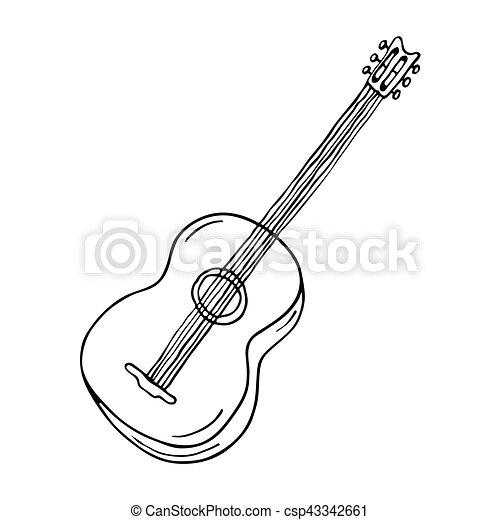 Guitarra, acústico, icono. Guitarra, acústico, fondo blanco, icono.