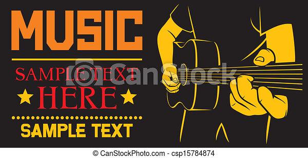 Guitarra acústica tocando afiche - csp15784874