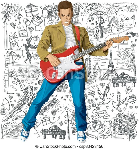 guitarra, amor, fundo, contra, homem - csp33423456