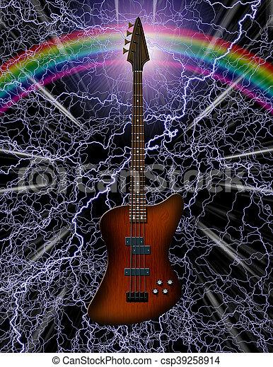 guitarra, baixo elétrico - csp39258914