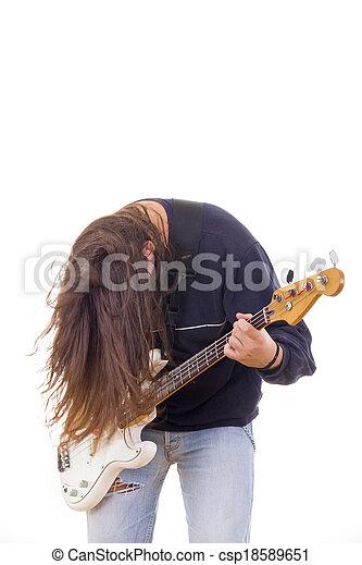 guitarra, baixo, músico, cabelo, macho, tocando, baixo - csp18589651