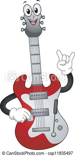 La mascota de la guitarra eléctrica - csp11835497