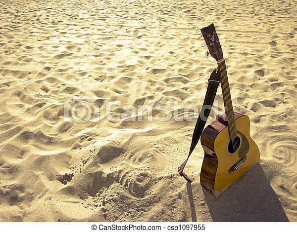 guitarra, ensolarado, praia, acústico - csp1097955