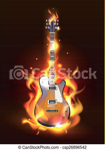 Guitarra en llamas - csp26896542