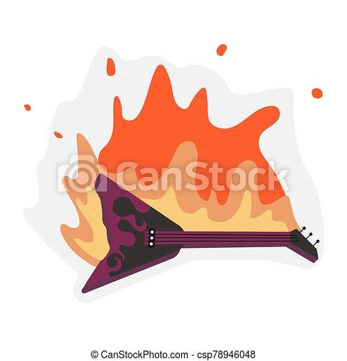 guitarra, fuego, llamas - csp78946048