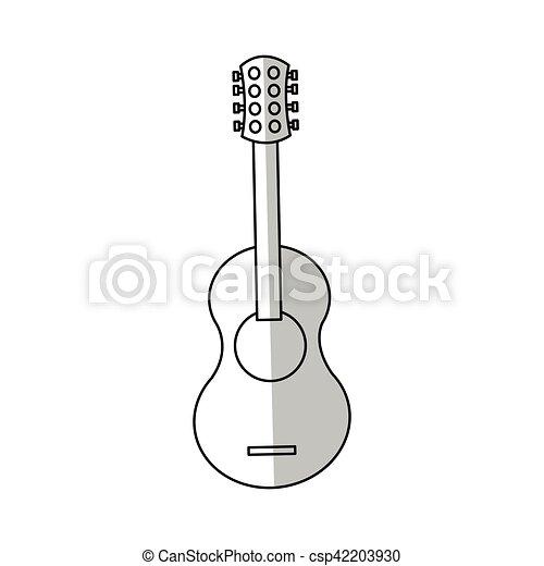 Guitarra Instrumento Desenho Isolado Som Theme Ilustracao
