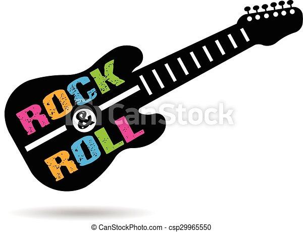 guitarra, logotipo, rolo, rocha - csp29965550