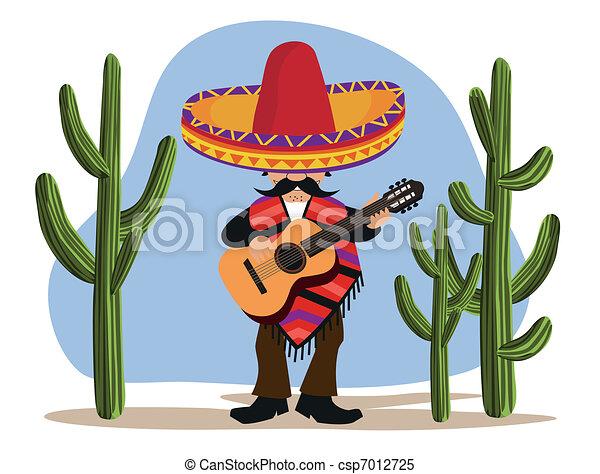 Mejicano con guitarra - csp7012725