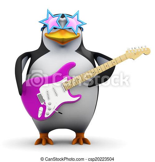 Pingüino Funky 3 con guitarra - csp20223504