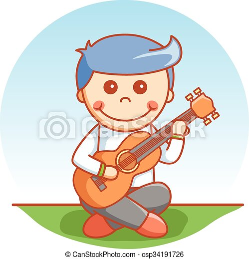 Un chico que toca dibujos de guitarra - csp34191726