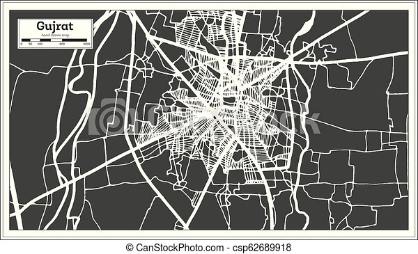 Gujrat Pakistan City Map in Retro Style  Outline Map