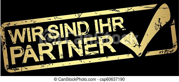 guld, stämpel, text, ihr, wir, partner, sind - csp60637190