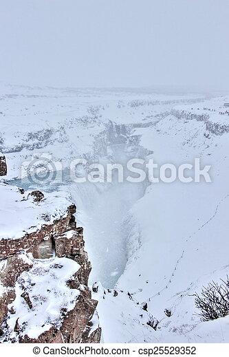 Gulfoss in winter, Iceland - csp25529352