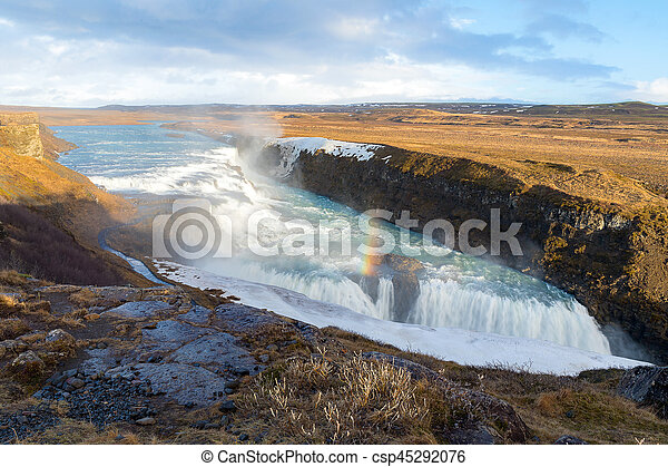 Gulfoss Waterfall Iceland Winter - csp45292076