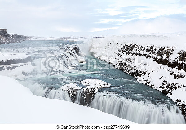 Gulfoss Waterfall Iceland Winter - csp27743639