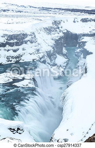 Gulfoss Waterfall Iceland Winter - csp27914337