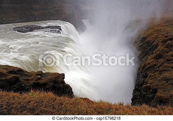 Gullfoss waterfall , Iceland - csp15798218
