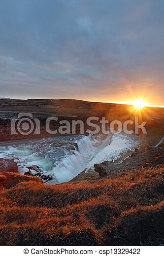 Gullfoss waterfall iceland - csp13329422