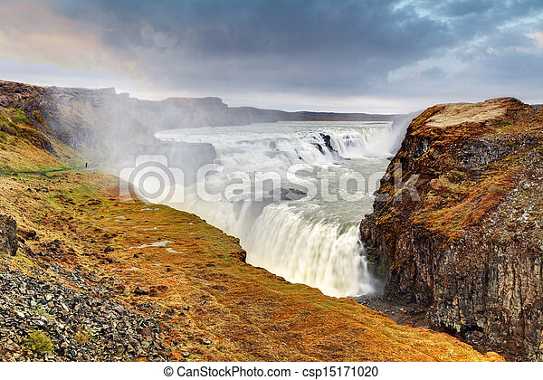 Gullfoss waterfall , Iceland - csp15171020