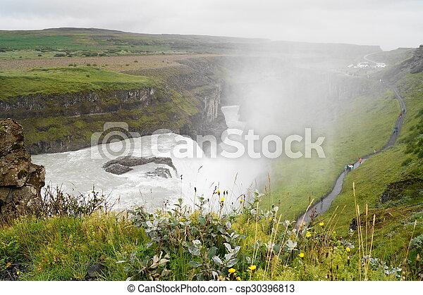 Gullfoss, waterfall in Iceland - csp30396813