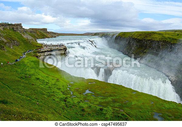 Gullfoss waterfall in Iceland - csp47495637