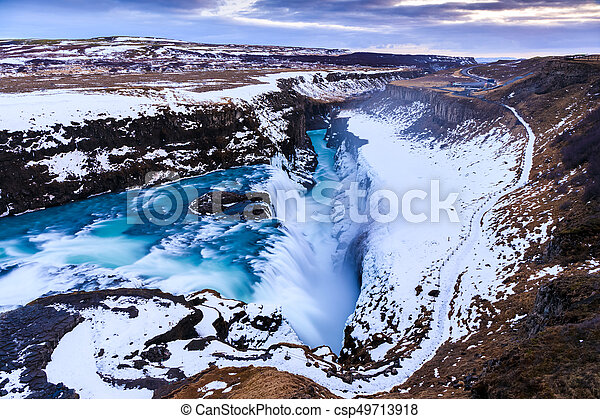 Gullfoss waterfall in Winter (bird's eye view), Iceland - csp49713918