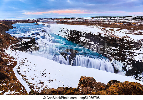 Gullfoss waterfall in Winter (bird's eye view), Iceland - csp51066798