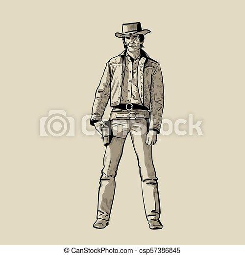 Hombre con sombrero de vaquero y pistola. Pistolero occidental. Dibujo digital vector de dibujo a mano. - csp57386845