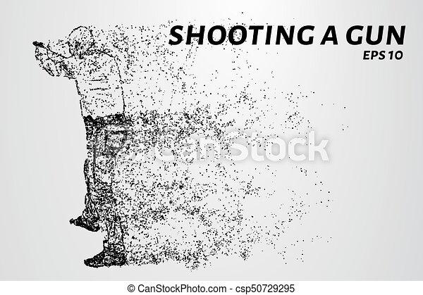 gun., cercles, silhouette, illustration., dots., fusil, particles., feux, vecteur, tir, homme - csp50729295