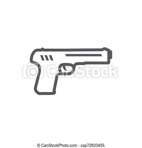 Gun Line Icon on the white background - csp72833455