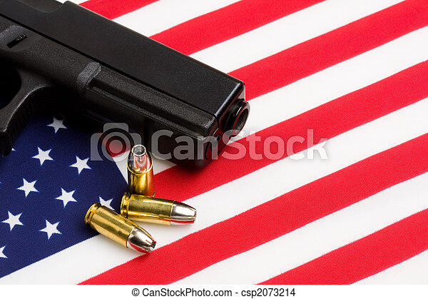 gun over american flag - csp2073214